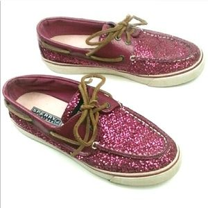 Sperry Top Sider Boat Shoes Pink Sequin Size 6